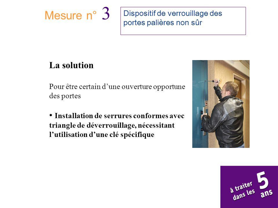 Mesure n° 3 Dispositif de verrouillage des portes palières non sûr. La solution. Pour être certain d'une ouverture opportune des portes.