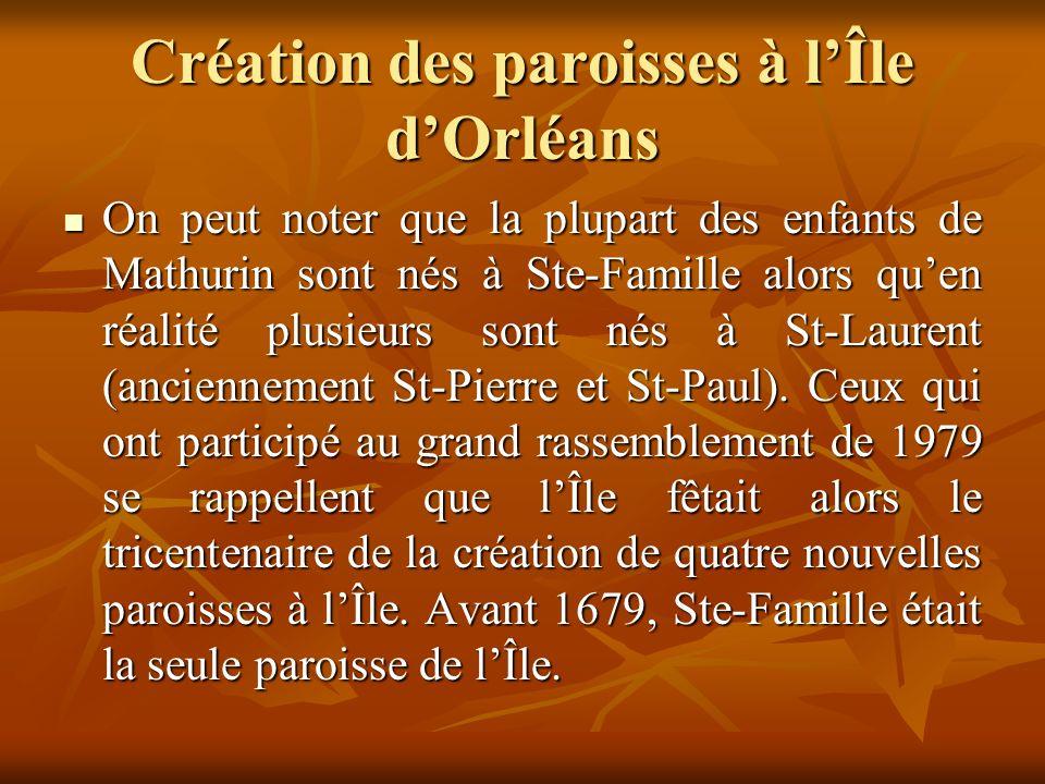 Création des paroisses à l'Île d'Orléans