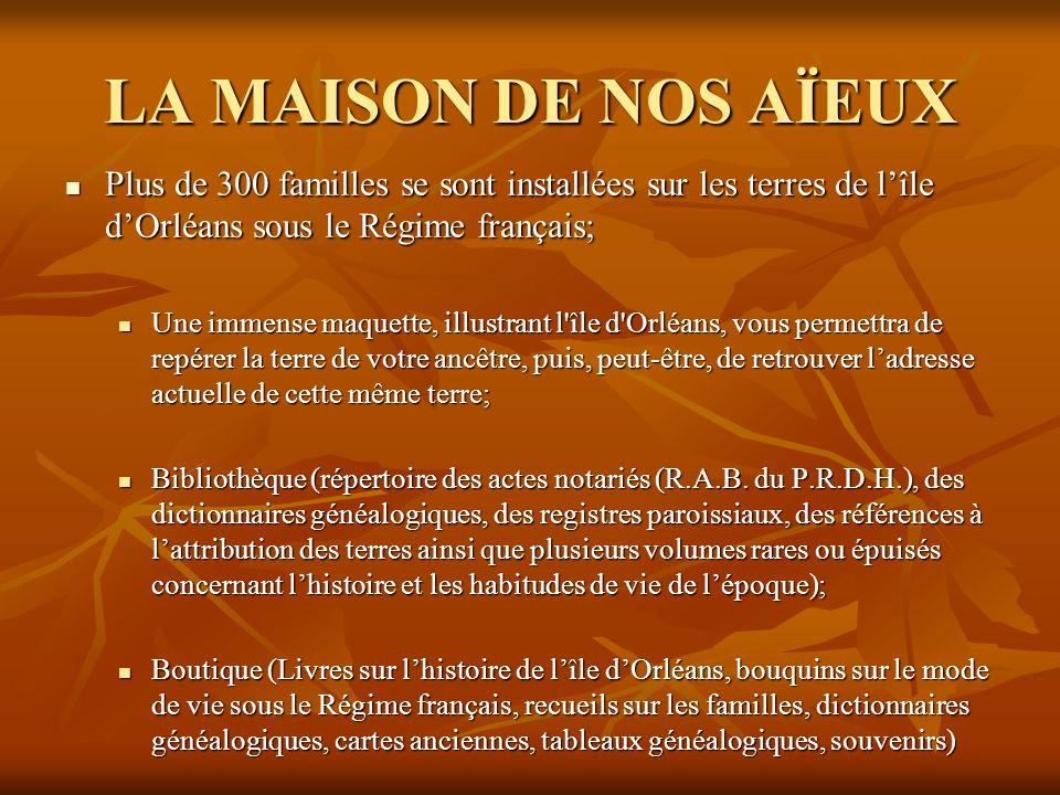 LA MAISON DE NOS AÏEUX Plus de 300 familles se sont installées sur les terres de l'île d'Orléans sous le Régime français;