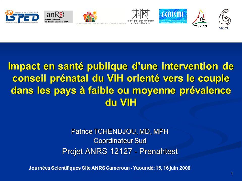 Journées Scientifiques Site ANRS Cameroun - Yaoundé: 15, 16 juin 2009
