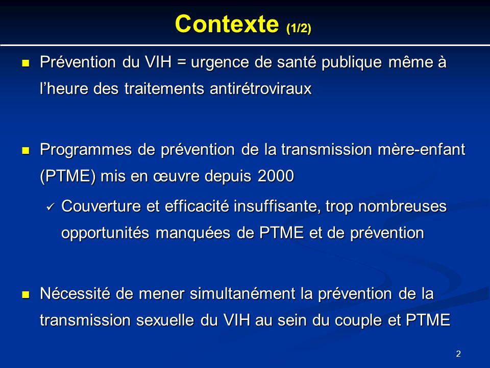 Contexte (1/2) Prévention du VIH = urgence de santé publique même à l'heure des traitements antirétroviraux.