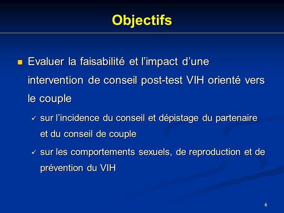Objectifs Evaluer la faisabilité et l'impact d'une intervention de conseil post-test VIH orienté vers le couple.