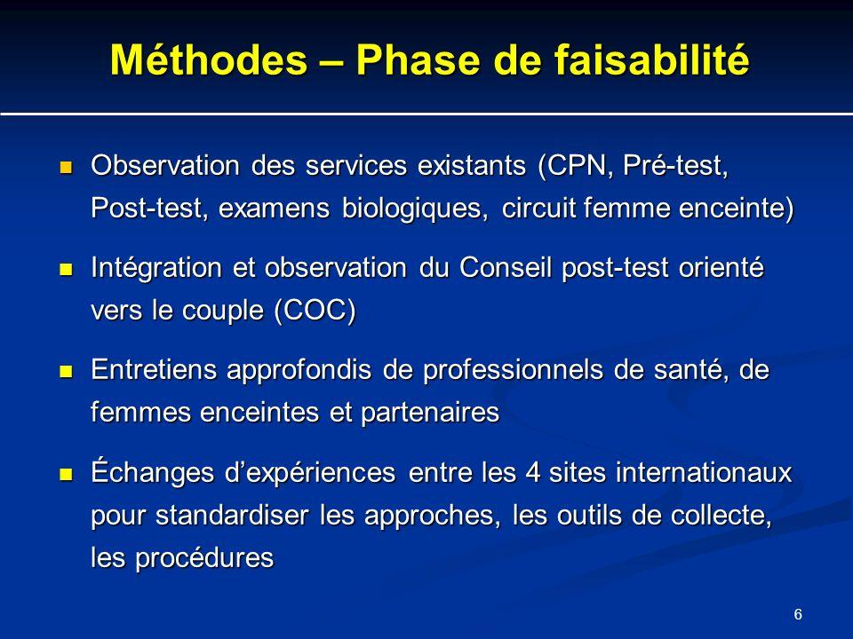 Méthodes – Phase de faisabilité