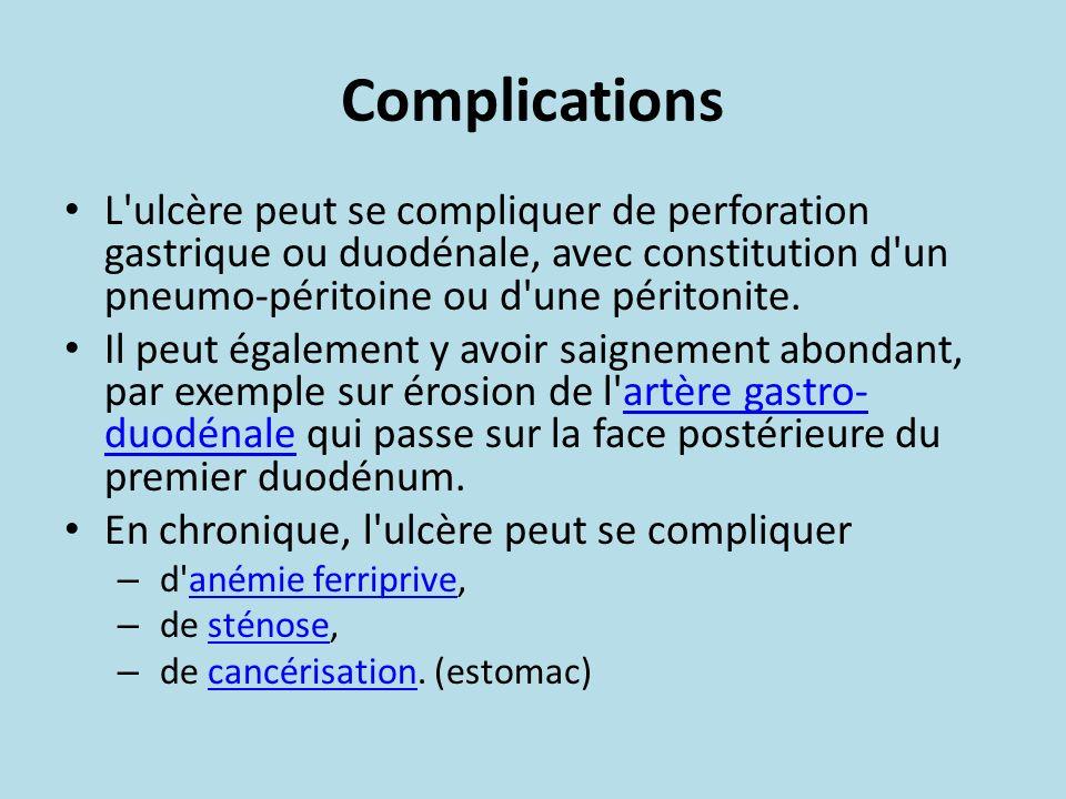 Complications L ulcère peut se compliquer de perforation gastrique ou duodénale, avec constitution d un pneumo-péritoine ou d une péritonite.