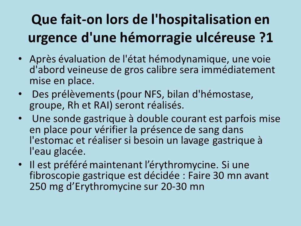 Que fait-on lors de l hospitalisation en urgence d une hémorragie ulcéreuse 1