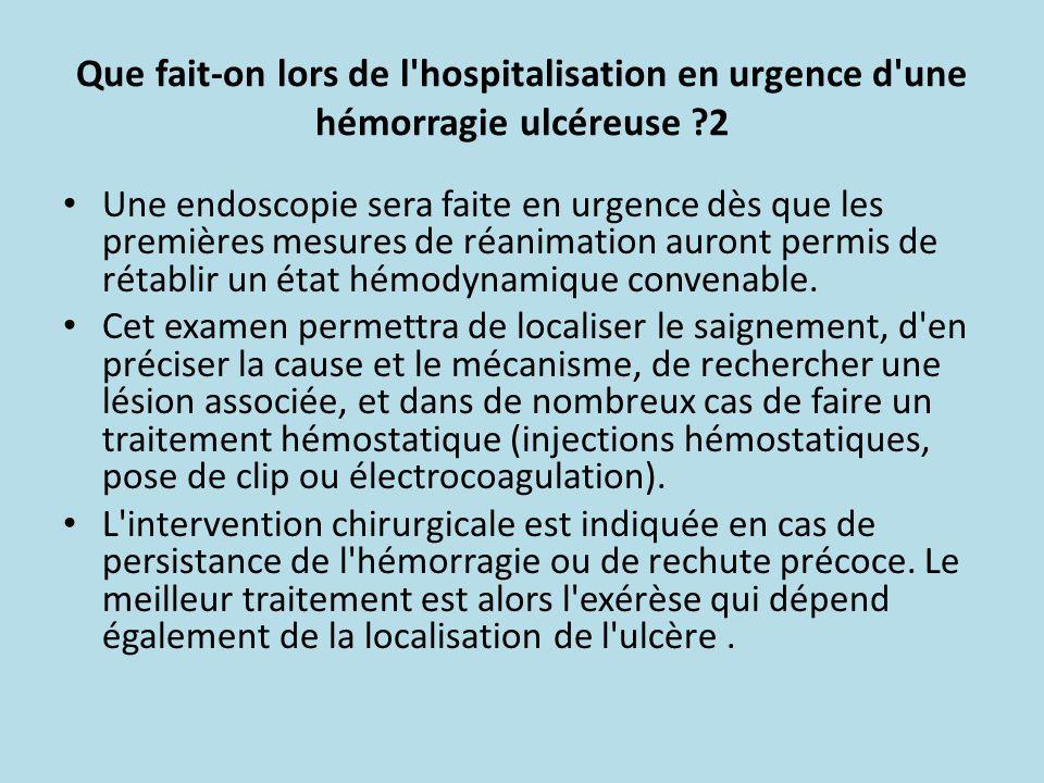 Que fait-on lors de l hospitalisation en urgence d une hémorragie ulcéreuse 2