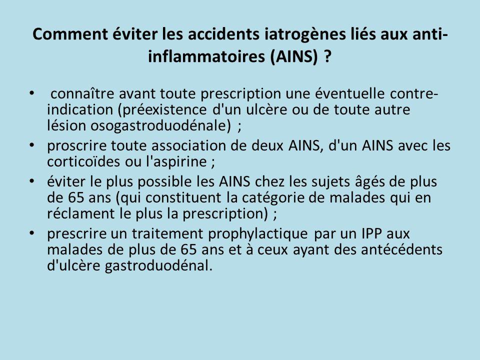 Comment éviter les accidents iatrogènes liés aux anti-inflammatoires (AINS)