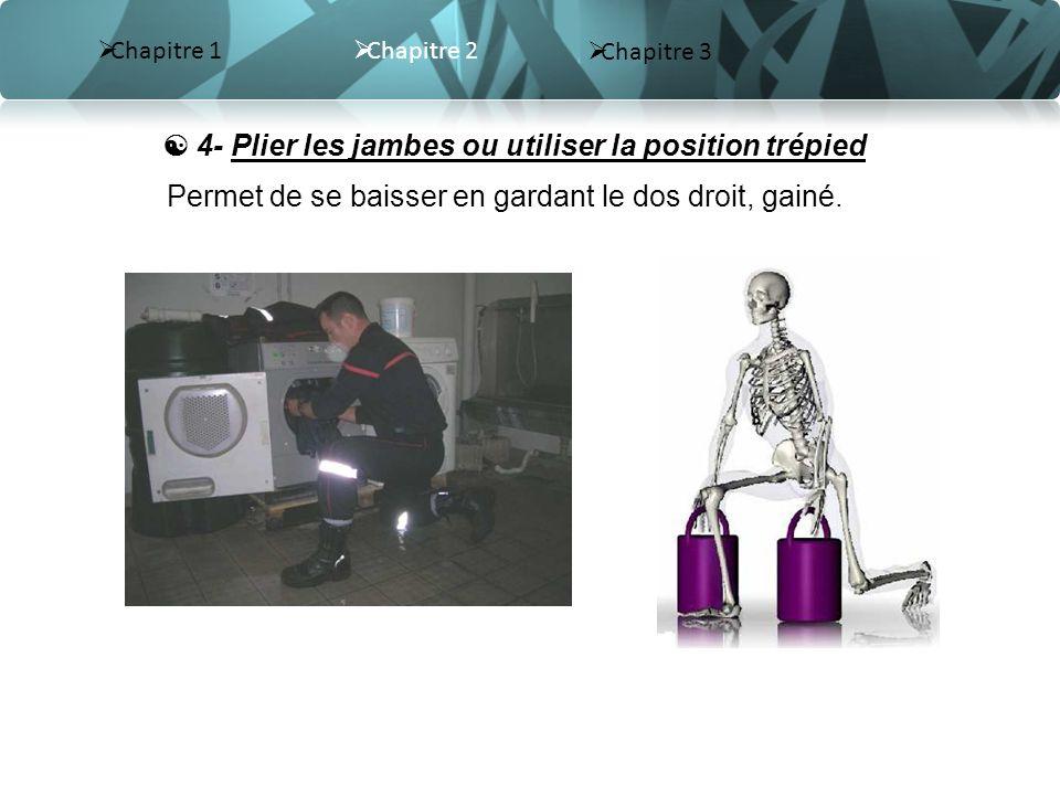  4- Plier les jambes ou utiliser la position trépied