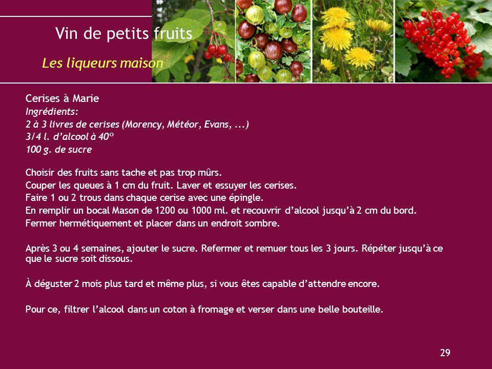 Les liqueurs maison Cerises à Marie Ingrédients: