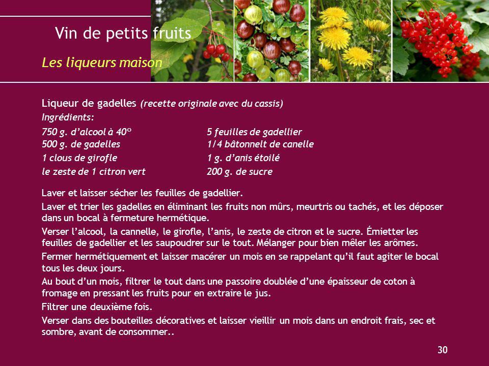 Les liqueurs maison Liqueur de gadelles (recette originale avec du cassis) Ingrédients: