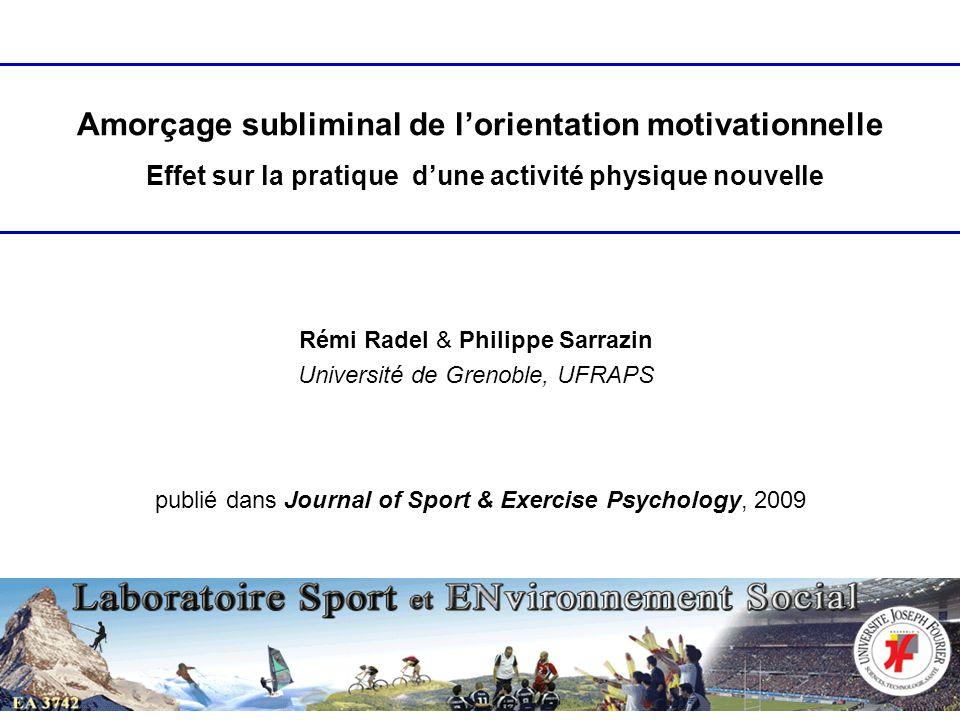Rémi Radel & Philippe Sarrazin Université de Grenoble, UFRAPS