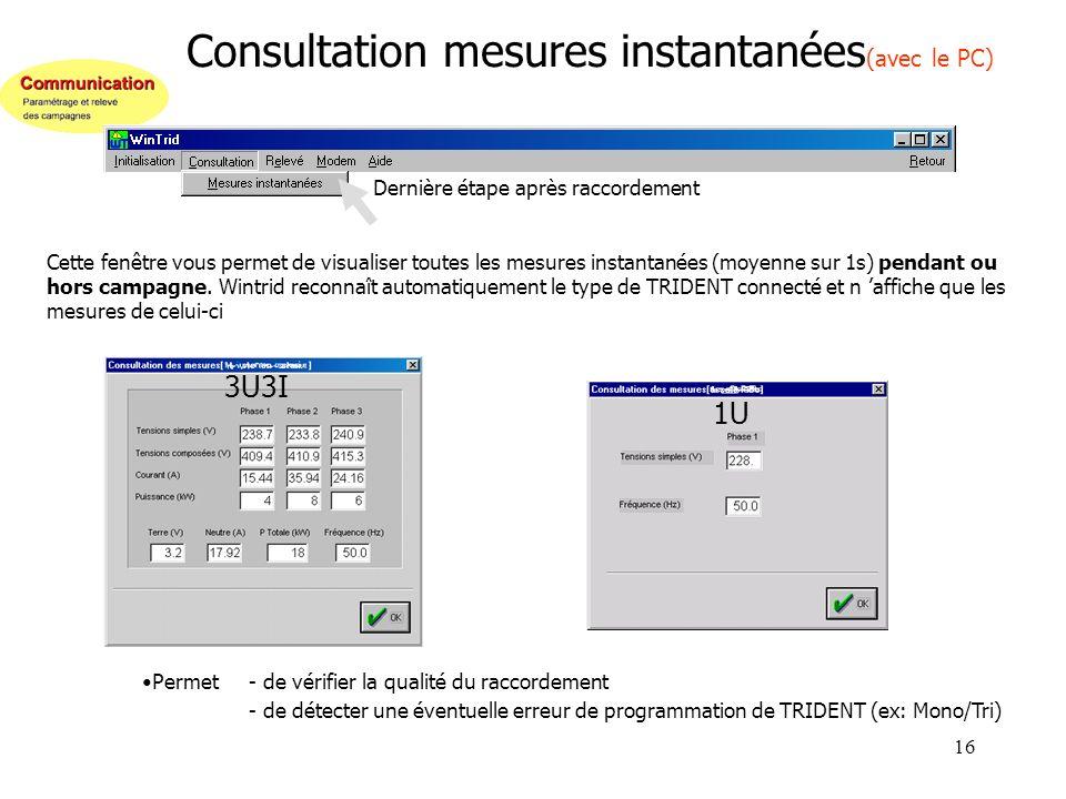 Consultation mesures instantanées(avec le PC)