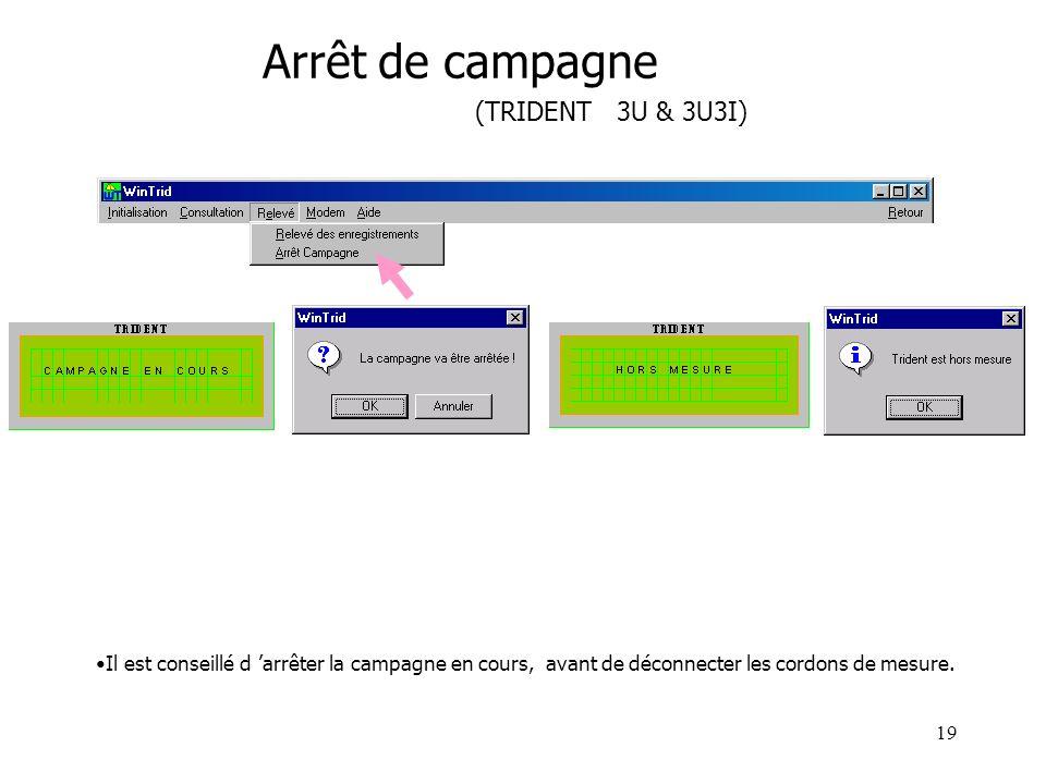 Arrêt de campagne (TRIDENT 3U & 3U3I)