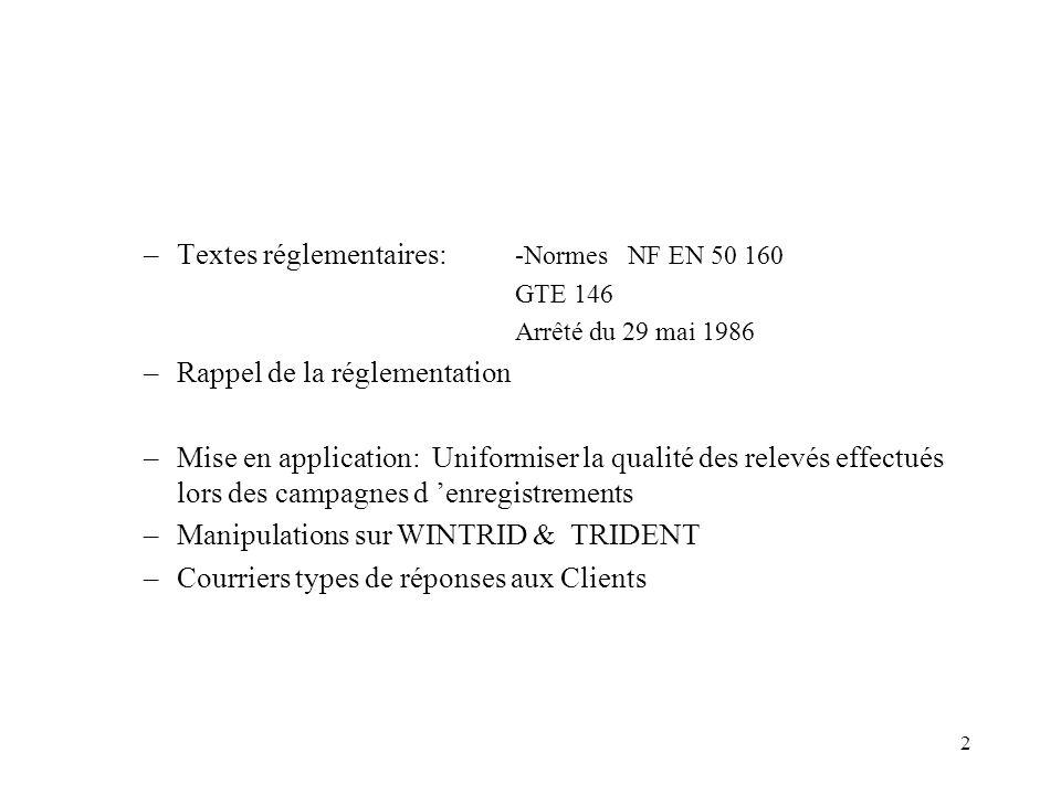Textes réglementaires: -Normes NF EN 50 160