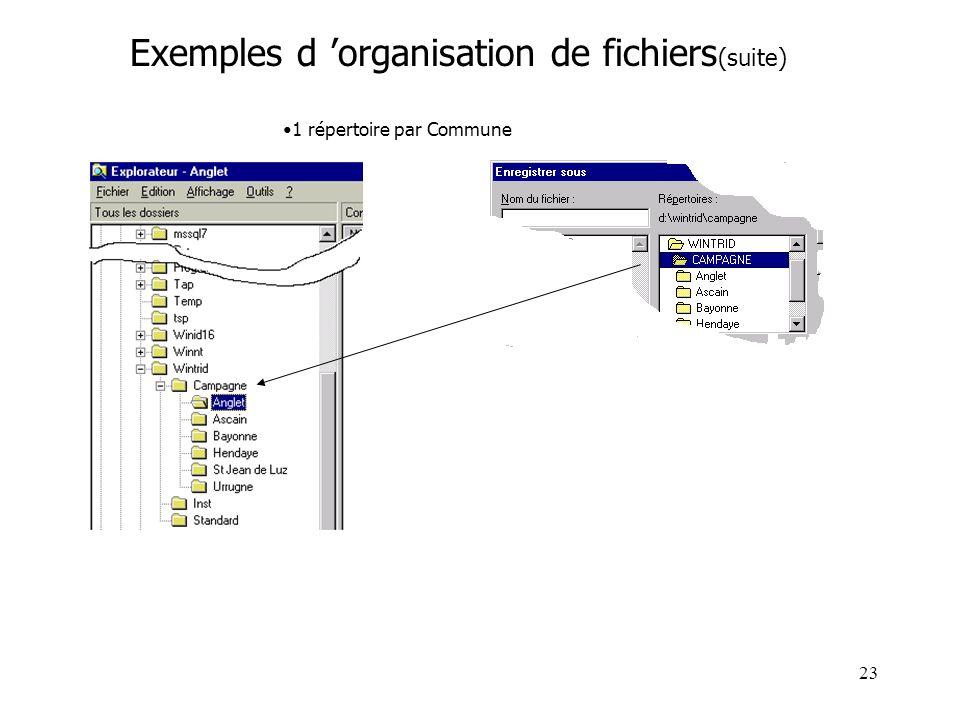 Exemples d 'organisation de fichiers(suite)
