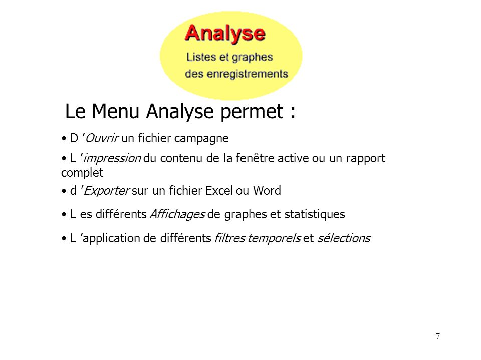 Le Menu Analyse permet :