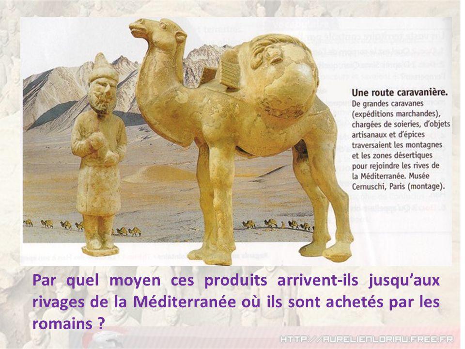 Par quel moyen ces produits arrivent-ils jusqu'aux rivages de la Méditerranée où ils sont achetés par les romains