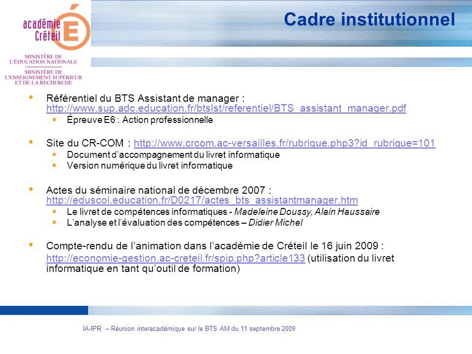 IA-IPR – Réunion interacadémique sur le BTS AM du 11 septembre 2009