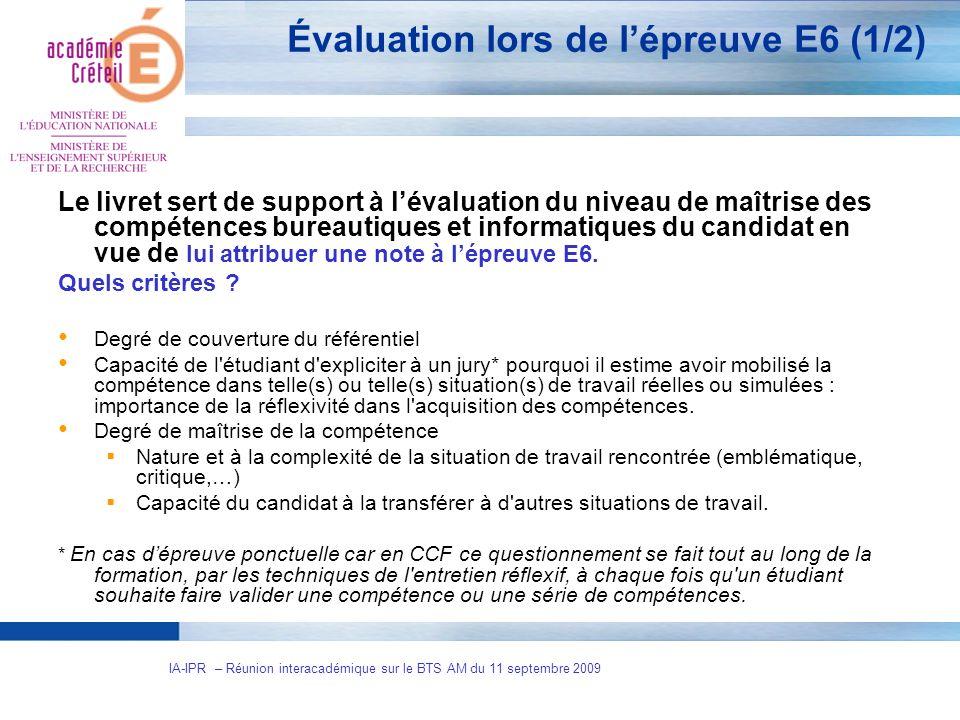 Évaluation lors de l'épreuve E6 (1/2)