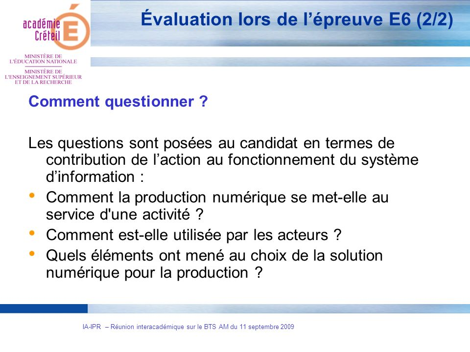 Évaluation lors de l'épreuve E6 (2/2)