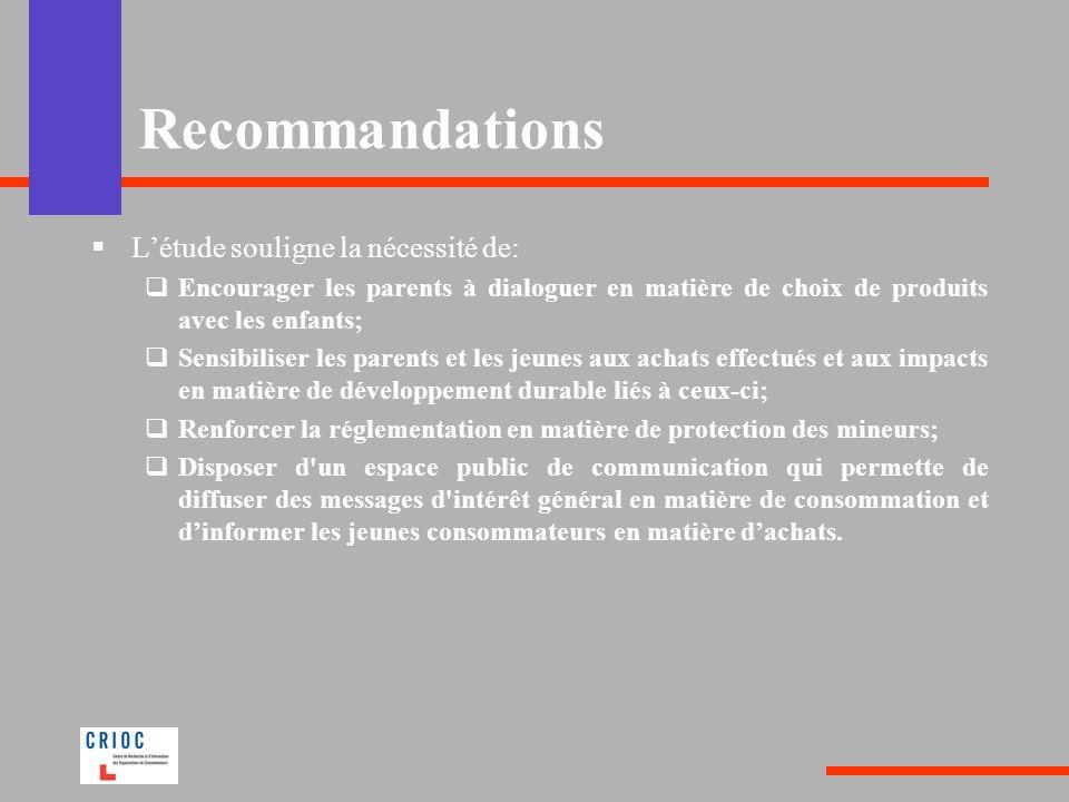 Recommandations L'étude souligne la nécessité de: