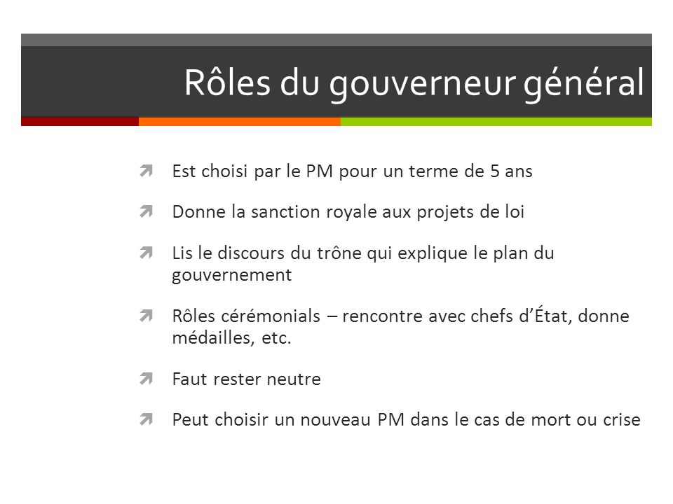 Rôles du gouverneur général