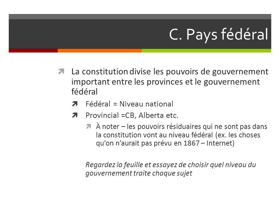 C. Pays fédéral La constitution divise les pouvoirs de gouvernement important entre les provinces et le gouvernement fédéral.