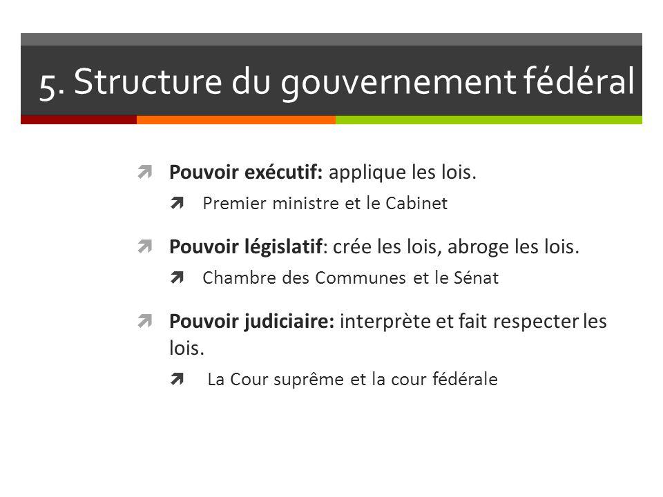 5. Structure du gouvernement fédéral