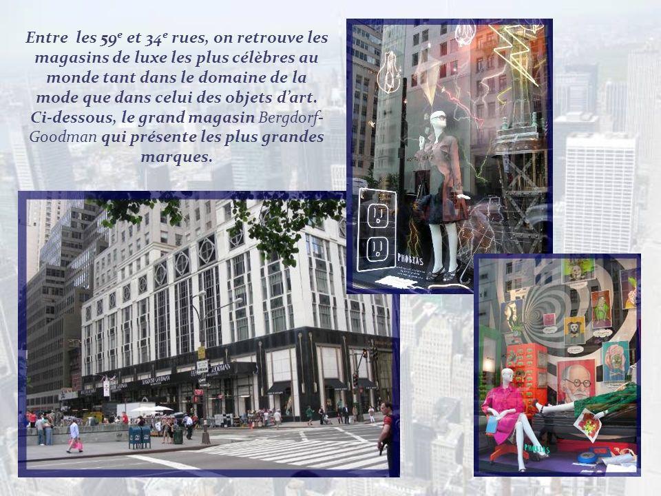 Entre les 59e et 34e rues, on retrouve les magasins de luxe les plus célèbres au monde tant dans le domaine de la mode que dans celui des objets d'art.
