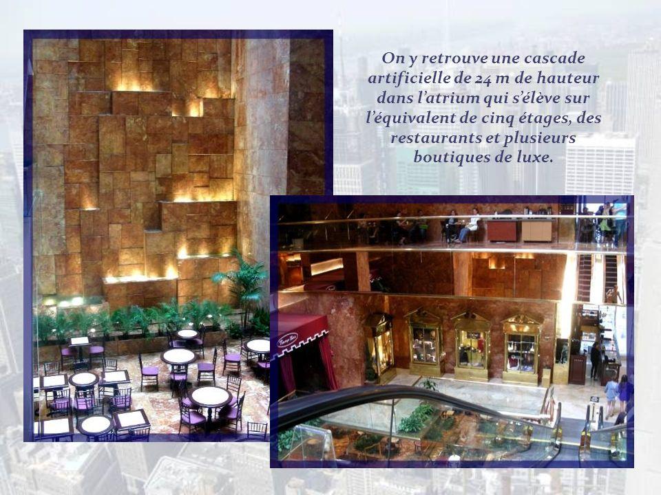 On y retrouve une cascade artificielle de 24 m de hauteur dans l'atrium qui s'élève sur l'équivalent de cinq étages, des restaurants et plusieurs boutiques de luxe.