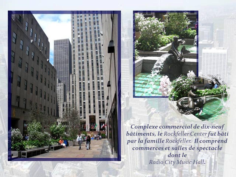 Complexe commercial de dix-neuf bâtiments, le Rockfeller Center fut bâti par la famille Rockfeller. Il comprend commerces et salles de spectacle dont le