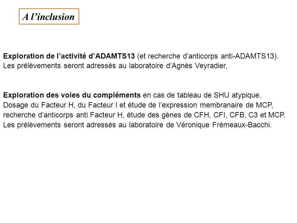 A l'inclusion Exploration de l'activité d'ADAMTS13 (et recherche d'anticorps anti-ADAMTS13).