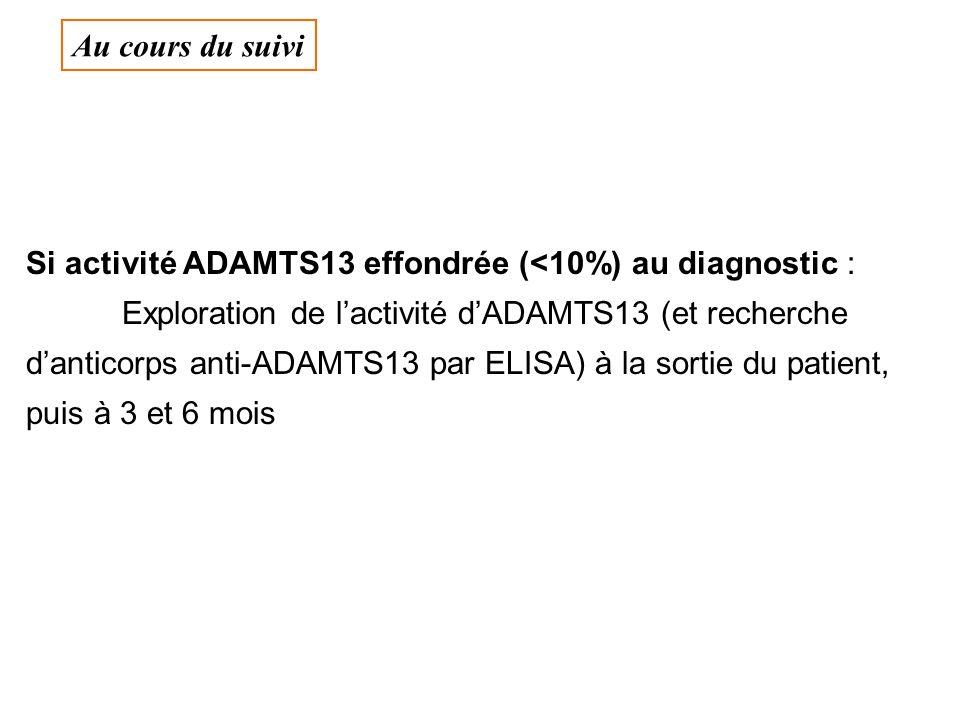 Au cours du suivi Si activité ADAMTS13 effondrée (<10%) au diagnostic :