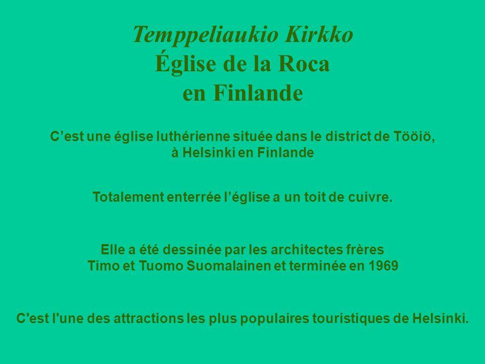 Temppeliaukio Kirkko Église de la Roca en Finlande