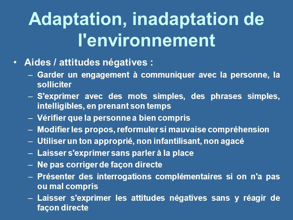 Adaptation, inadaptation de l environnement