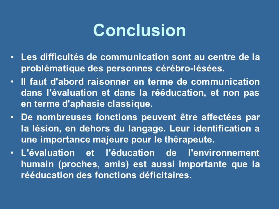 Conclusion Les difficultés de communication sont au centre de la problématique des personnes cérébro-lésées.