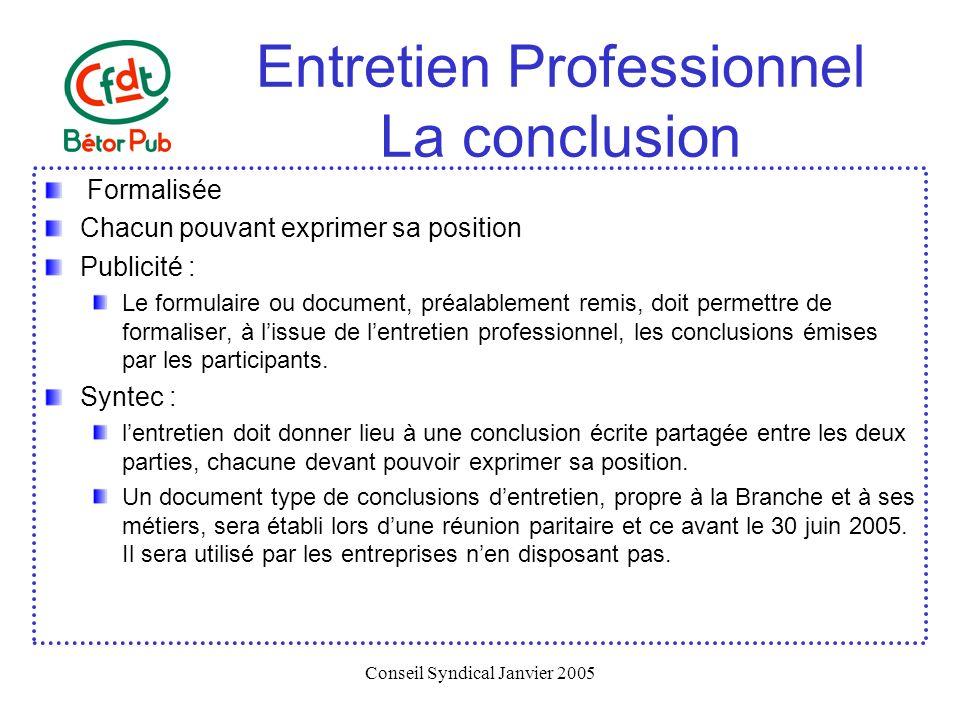 Entretien Professionnel La conclusion
