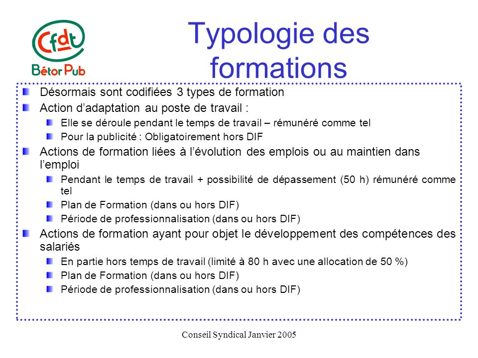 Typologie des formations