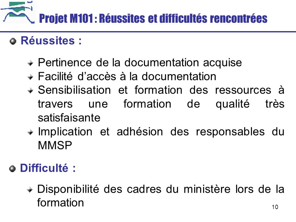 Projet M101 : Réussites et difficultés rencontrées
