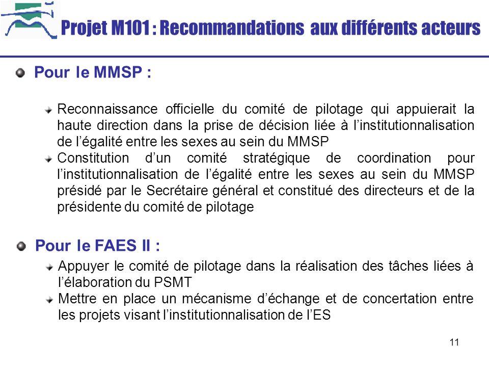 Projet M101 : Recommandations aux différents acteurs