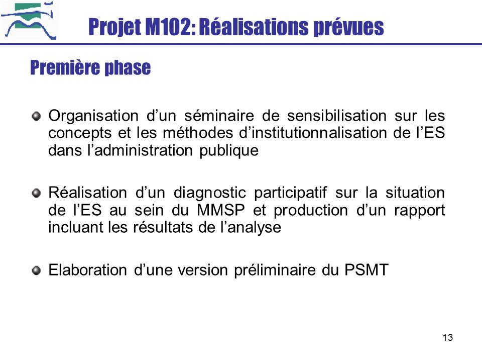 Projet M102: Réalisations prévues
