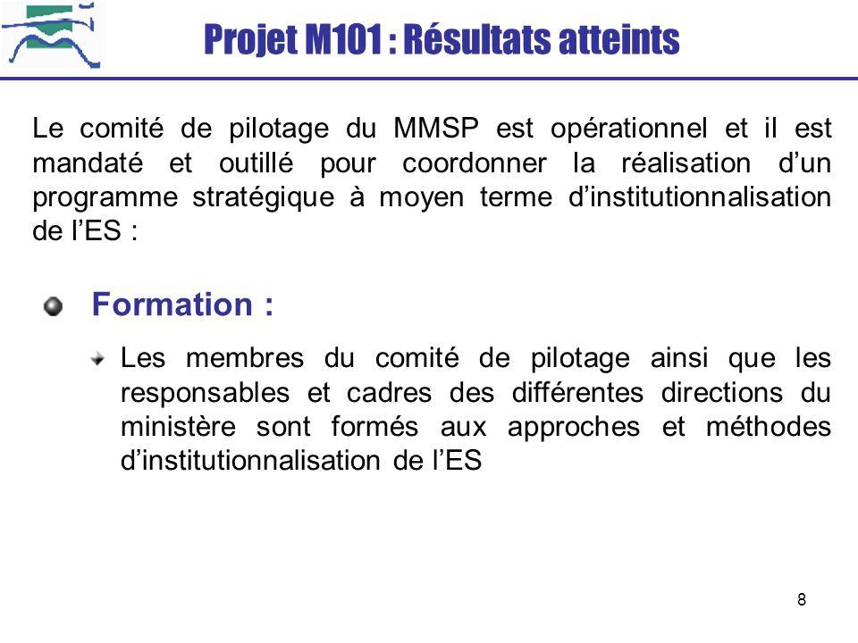 Projet M101 : Résultats atteints