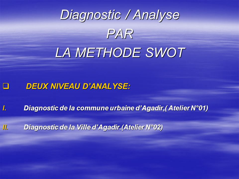 Diagnostic / Analyse PAR LA METHODE SWOT DEUX NIVEAU D'ANALYSE: