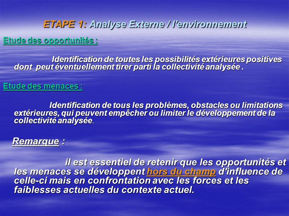 ETAPE 1: Analyse Externe / l environnement