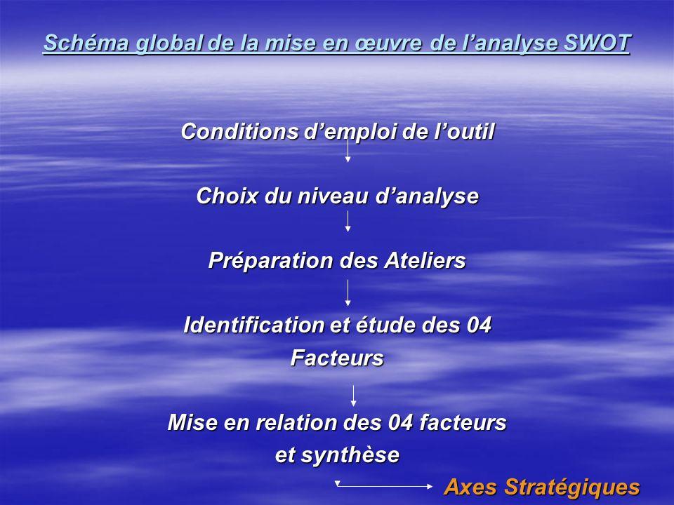 Schéma global de la mise en œuvre de l'analyse SWOT