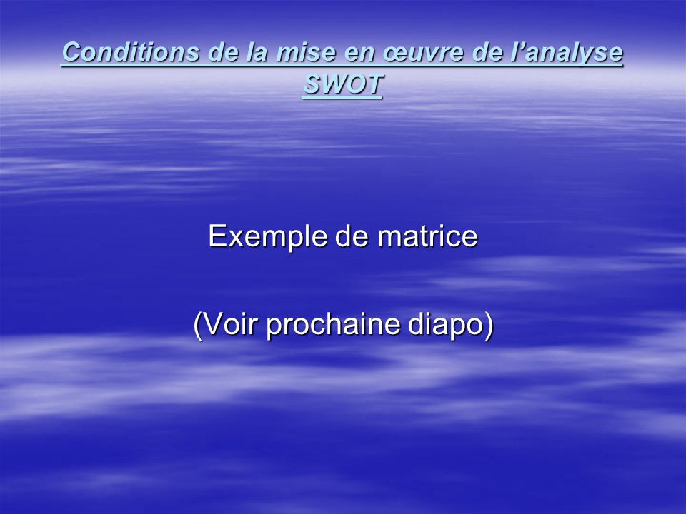 Conditions de la mise en œuvre de l'analyse SWOT