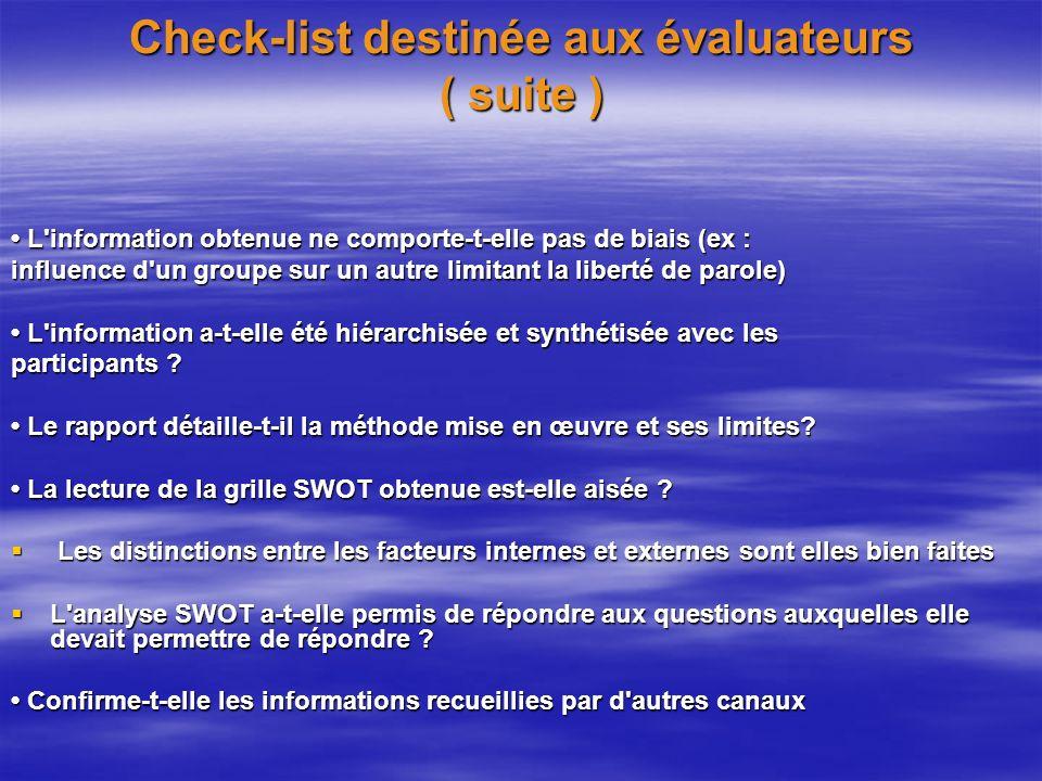 Check-list destinée aux évaluateurs ( suite )