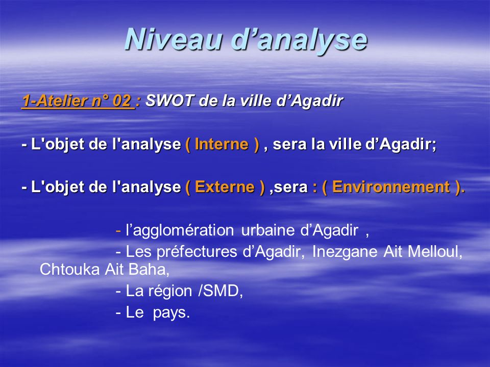 Niveau d'analyse 1-Atelier n° 02 : SWOT de la ville d'Agadir