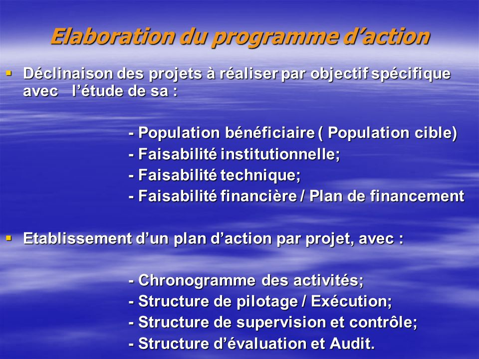Elaboration du programme d'action