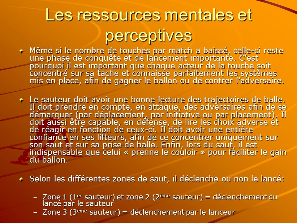 Les ressources mentales et perceptives